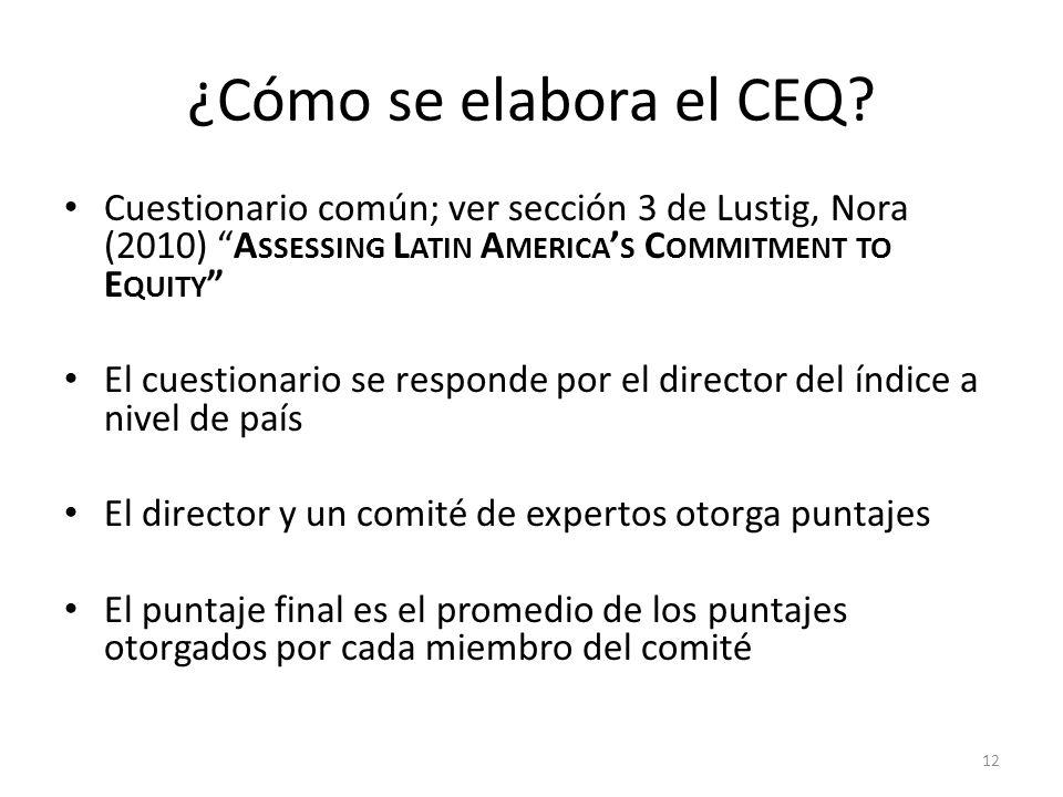 ¿Cómo se elabora el CEQ? Cuestionario común; ver sección 3 de Lustig, Nora (2010) A SSESSING L ATIN A MERICA S C OMMITMENT TO E QUITY El cuestionario