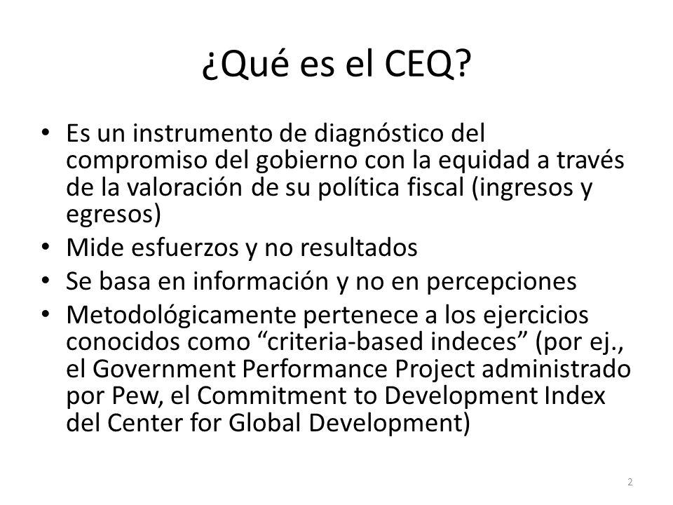 ¿Qué es el CEQ? Es un instrumento de diagnóstico del compromiso del gobierno con la equidad a través de la valoración de su política fiscal (ingresos