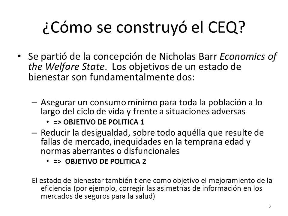¿Cómo se construyó el CEQ? Se partió de la concepción de Nicholas Barr Economics of the Welfare State. Los objetivos de un estado de bienestar son fun
