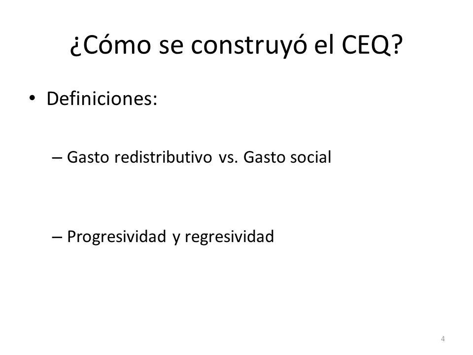 ¿Cómo se construyó el CEQ? Definiciones: – Gasto redistributivo vs. Gasto social – Progresividad y regresividad 4