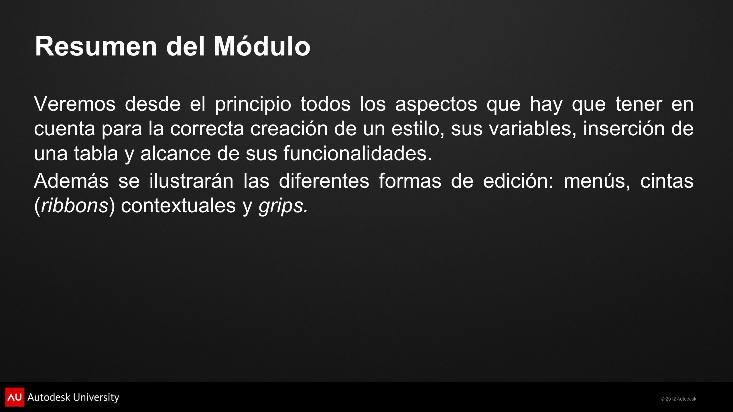© 2012 Autodesk Resumen del Módulo Veremos desde el principio todos los aspectos que hay que tener en cuenta para la correcta creación de un estilo, s