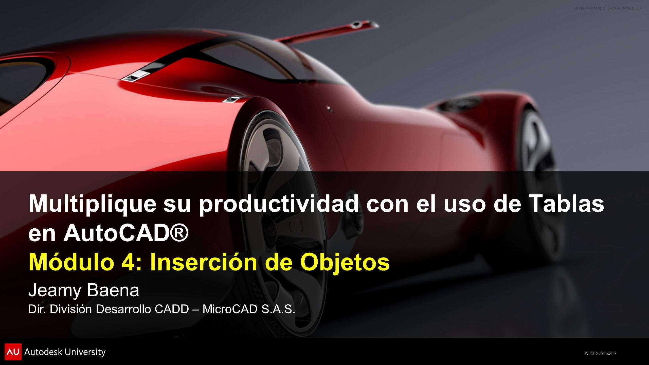 © 2012 Autodesk Multiplique su productividad con el uso de Tablas en AutoCAD® Módulo 4: Inserción de Objetos Jeamy Baena Dir. División Desarrollo CADD