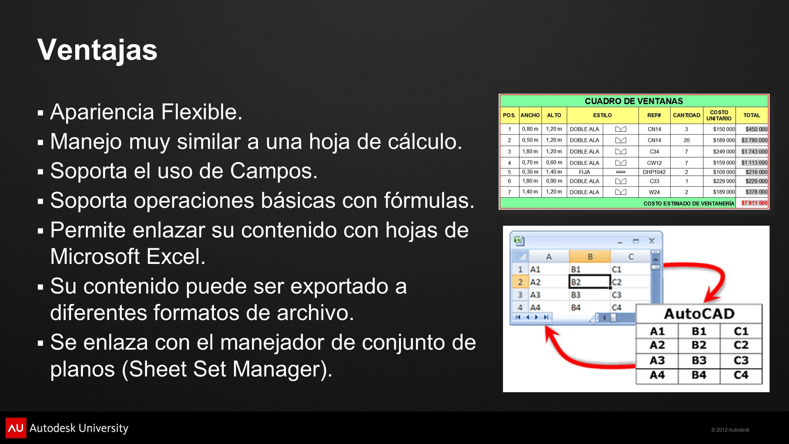 © 2012 Autodesk Ventajas Apariencia Flexible. Manejo muy similar a una hoja de cálculo. Soporta el uso de Campos. Soporta operaciones básicas con fórm