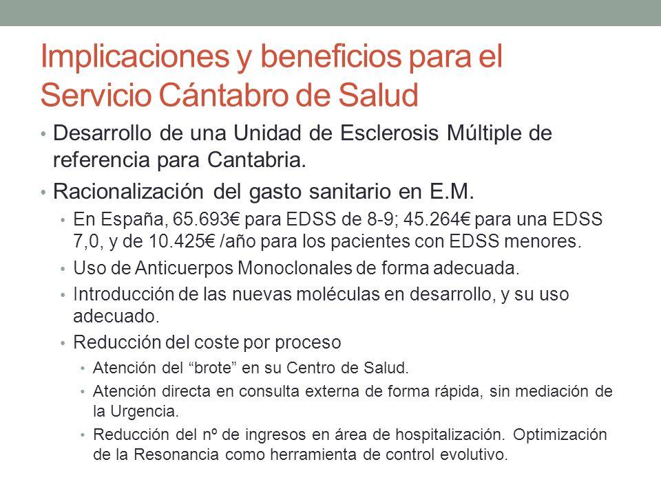 Implicaciones y beneficios para el Servicio Cántabro de Salud Desarrollo de una Unidad de Esclerosis Múltiple de referencia para Cantabria.