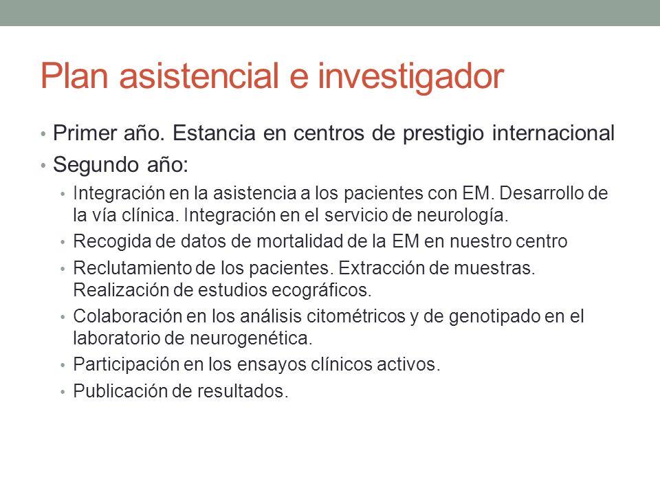 Plan asistencial e investigador Primer año. Estancia en centros de prestigio internacional Segundo año: Integración en la asistencia a los pacientes c