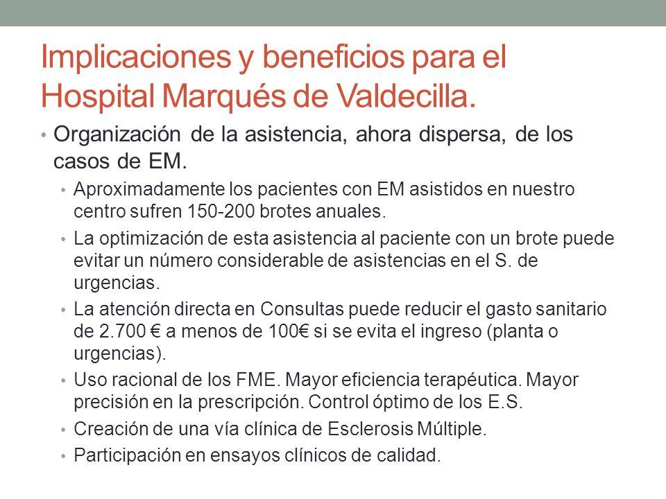 Implicaciones y beneficios para el Hospital Marqués de Valdecilla. Organización de la asistencia, ahora dispersa, de los casos de EM. Aproximadamente