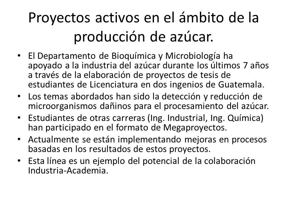 Proyectos activos en el ámbito de la producción de azúcar. El Departamento de Bioquímica y Microbiología ha apoyado a la industria del azúcar durante