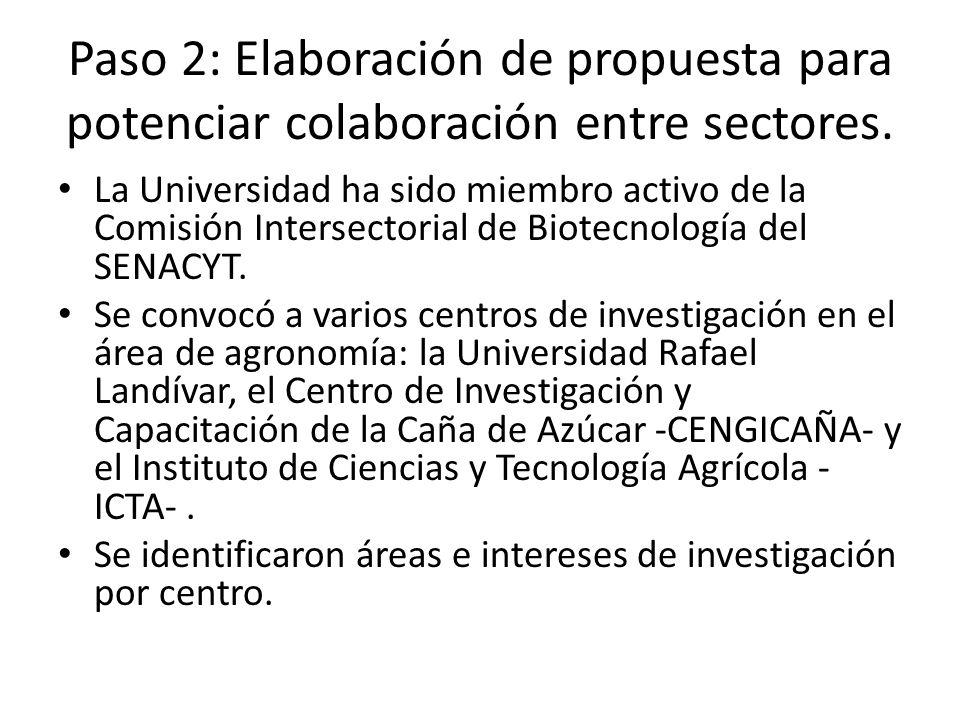 Paso 2: Elaboración de propuesta para potenciar colaboración entre sectores. La Universidad ha sido miembro activo de la Comisión Intersectorial de Bi