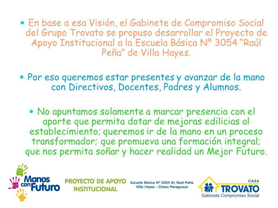 En base a esa Visión, el Gabinete de Compromiso Social del Grupo Trovato se propuso desarrollar el Proyecto de Apoyo Institucional a la Escuela Básica Nº 3054 Raúl Peña de Villa Hayes.