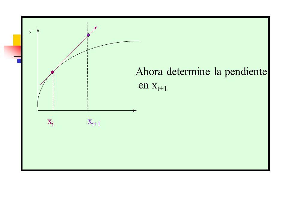 y Ahora determine la pendiente en x i+1