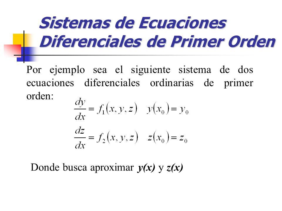 Por ejemplo sea el siguiente sistema de dos ecuaciones diferenciales ordinarias de primer orden: Sistemas de Ecuaciones Diferenciales de Primer Orden