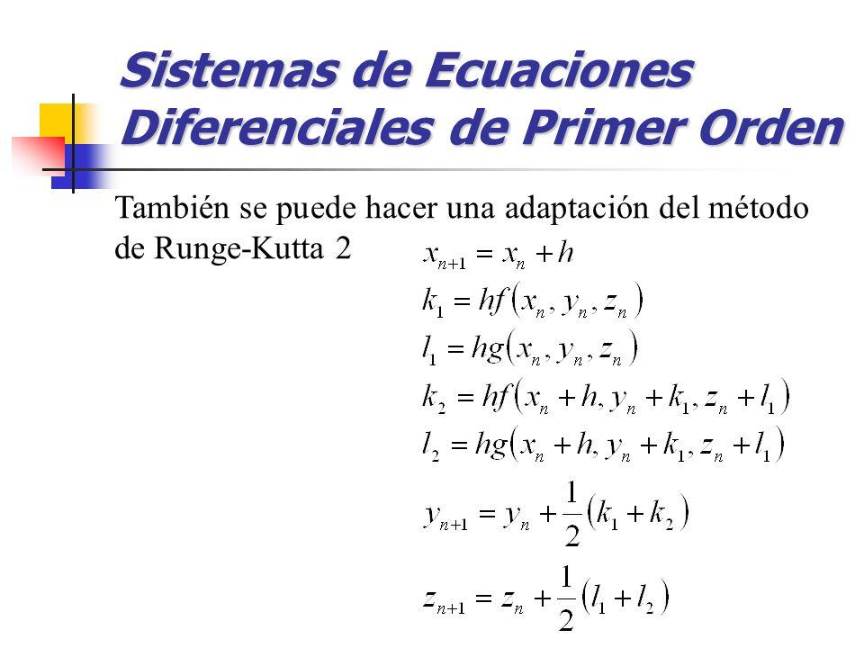 Sistemas de Ecuaciones Diferenciales de Primer Orden También se puede hacer una adaptación del método de Runge-Kutta 2