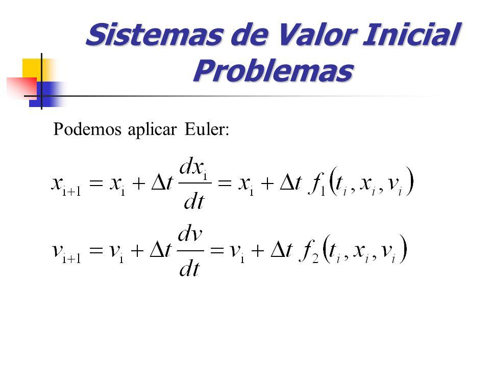 Podemos aplicar Euler: Sistemas de Valor Inicial Problemas