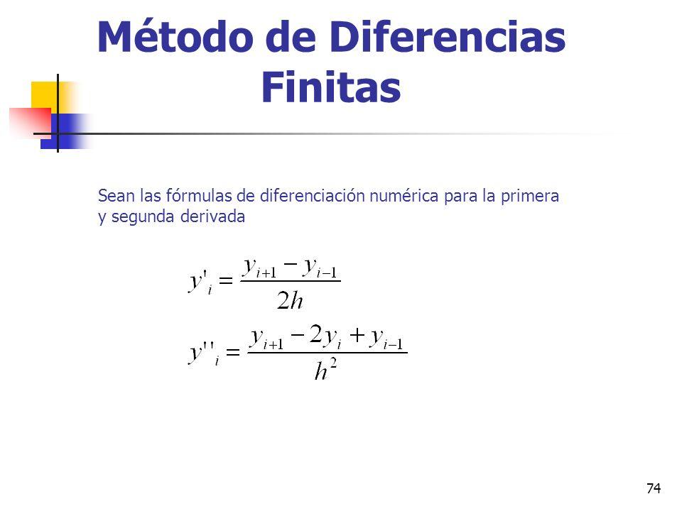 74 Método de Diferencias Finitas Sean las fórmulas de diferenciación numérica para la primera y segunda derivada