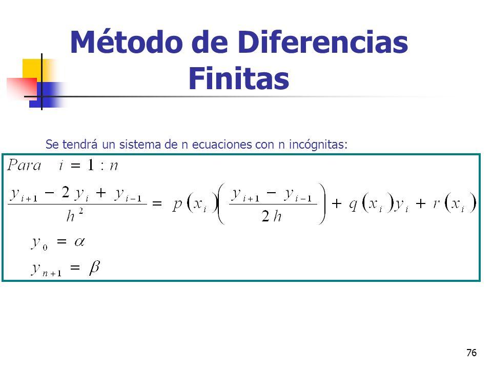 76 Método de Diferencias Finitas Se tendrá un sistema de n ecuaciones con n incógnitas: