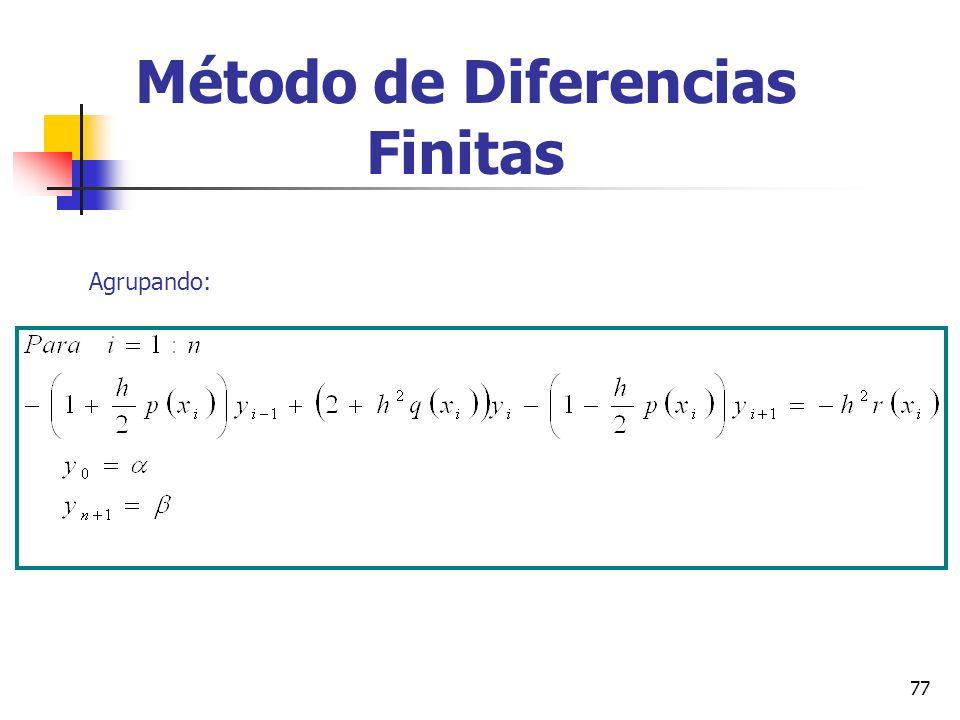 77 Método de Diferencias Finitas Agrupando: