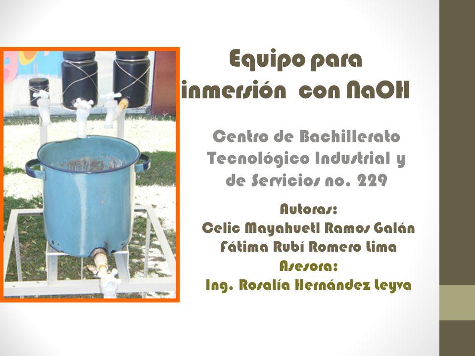 Equipo para inmersión con NaOH Centro de Bachillerato Tecnológico Industrial y de Servicios no. 229 Autoras: Celic Mayahuetl Ramos Galán Fátima Rubí R
