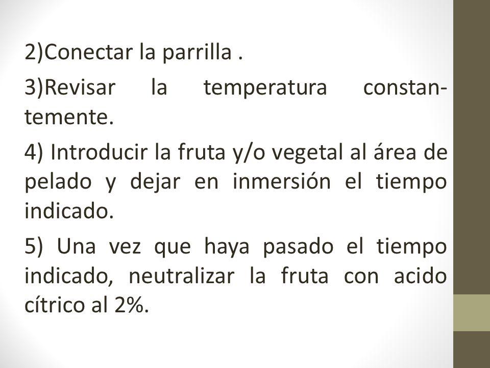 2)Conectar la parrilla. 3)Revisar la temperatura constan- temente. 4) Introducir la fruta y/o vegetal al área de pelado y dejar en inmersión el tiempo