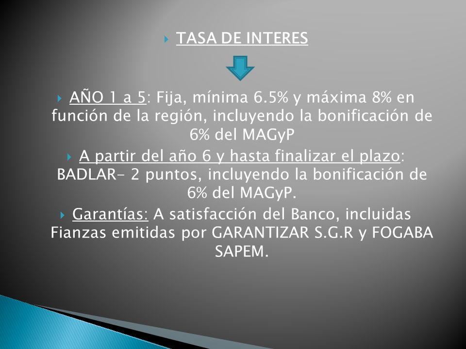 TASA DE INTERES AÑO 1 a 5: Fija, mínima 6.5% y máxima 8% en función de la región, incluyendo la bonificación de 6% del MAGyP A partir del año 6 y hasta finalizar el plazo: BADLAR- 2 puntos, incluyendo la bonificación de 6% del MAGyP.