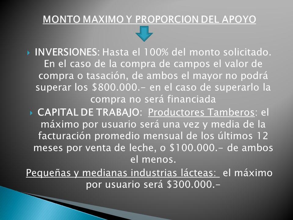 MONTO MAXIMO Y PROPORCION DEL APOYO INVERSIONES: Hasta el 100% del monto solicitado.