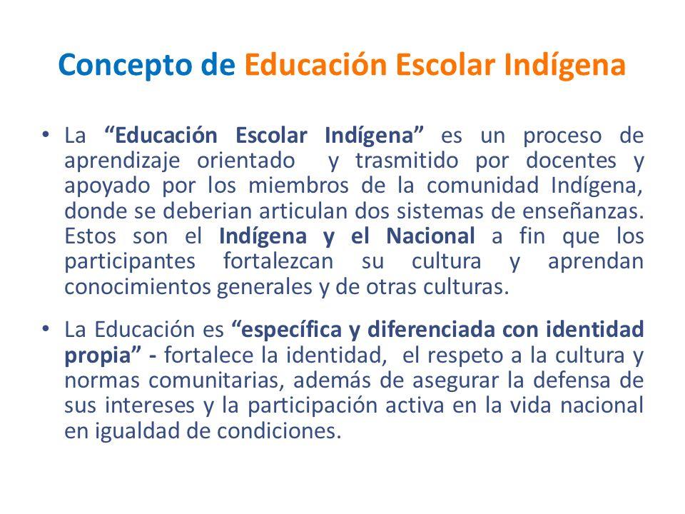 Concepto de Educación Escolar Indígena La Educación Escolar Indígena es un proceso de aprendizaje orientado y trasmitido por docentes y apoyado por lo
