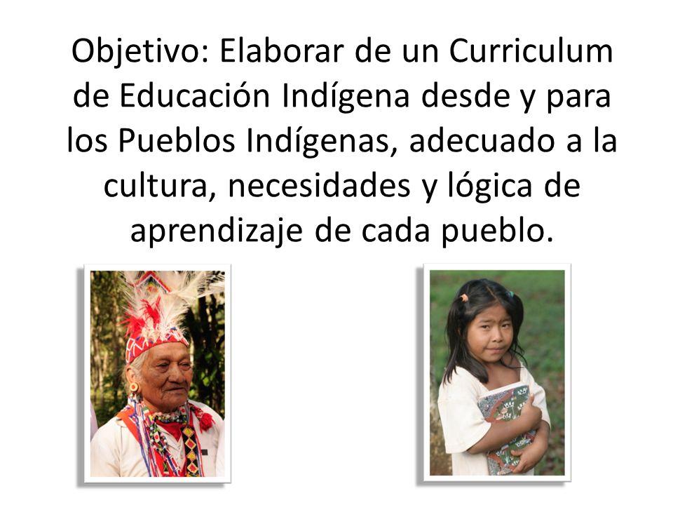 Objetivo: Elaborar de un Curriculum de Educación Indígena desde y para los Pueblos Indígenas, adecuado a la cultura, necesidades y lógica de aprendiza
