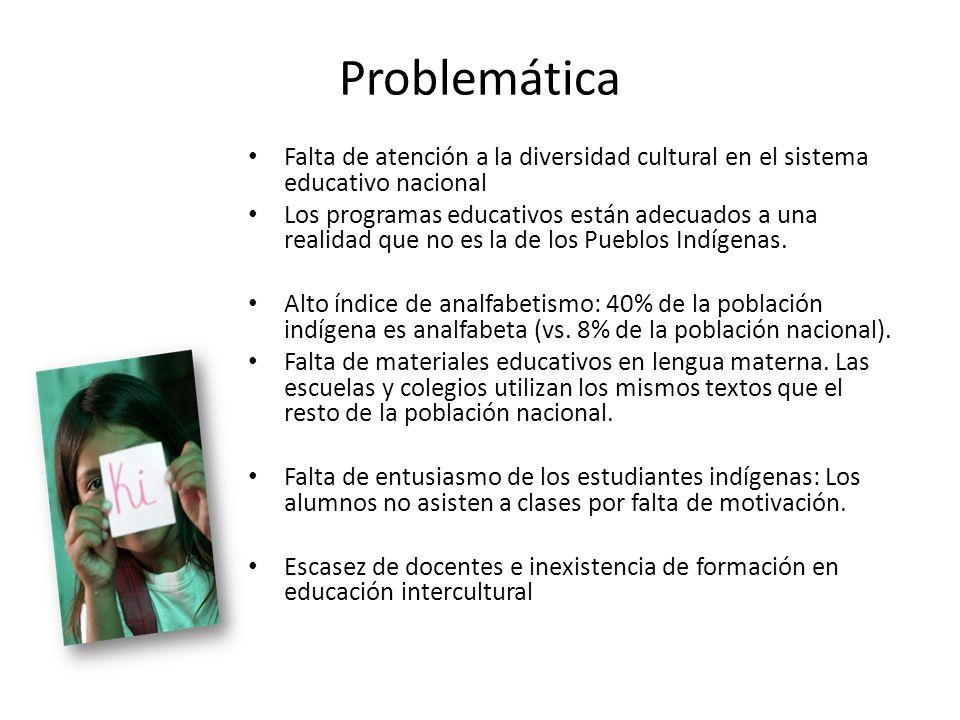 Problemática Falta de atención a la diversidad cultural en el sistema educativo nacional Los programas educativos están adecuados a una realidad que n