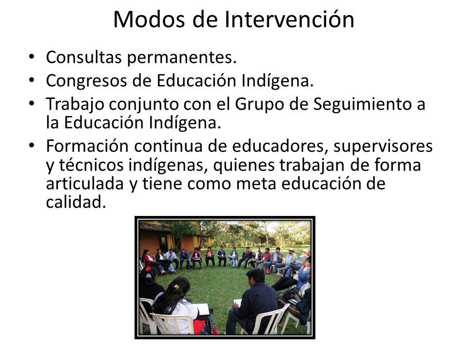 Modos de Intervención Consultas permanentes. Congresos de Educación Indígena. Trabajo conjunto con el Grupo de Seguimiento a la Educación Indígena. Fo