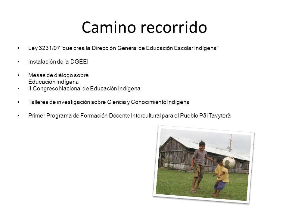Camino recorrido Ley 3231/07 que crea la Dirección General de Educación Escolar Indígena Instalación de la DGEEI Mesas de diálogo sobre Educación Indí