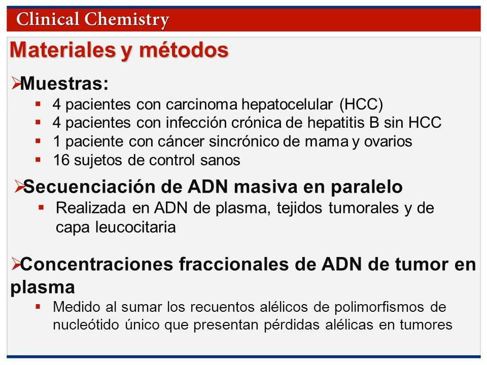 © Copyright 2009 by the American Association for Clinical Chemistry Materiales y métodos Muestras: 4 pacientes con carcinoma hepatocelular (HCC) 4 pac