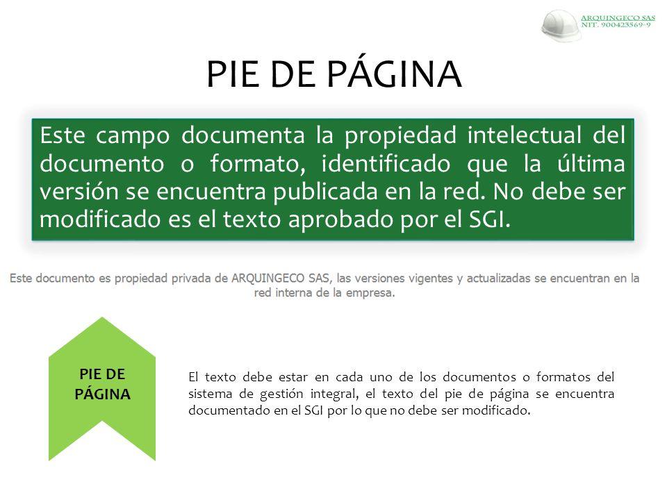 Este campo documenta la propiedad intelectual del documento o formato, identificado que la última versión se encuentra publicada en la red. No debe se