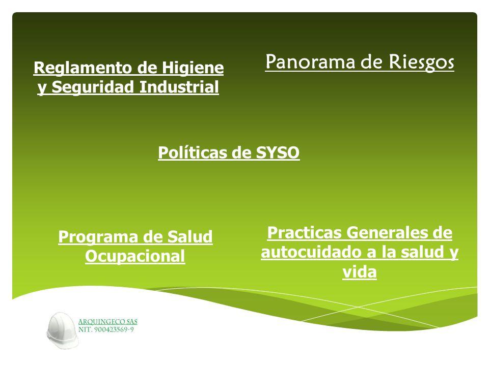 Reglamento de Higiene y Seguridad Industrial Políticas de SYSO Panorama de Riesgos Programa de Salud Ocupacional Practicas Generales de autocuidado a