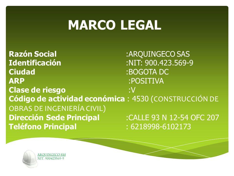 Razón Social:ARQUINGECO SAS Identificación:NIT: 900.423.569-9 Ciudad:BOGOTA DC ARP :POSITIVA Clase de riesgo :V Código de actividad económica : 4530 (