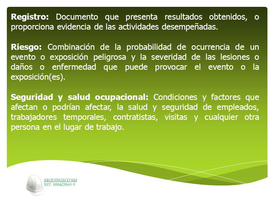 Registro: Documento que presenta resultados obtenidos, o proporciona evidencia de las actividades desempeñadas. Riesgo: Combinación de la probabilidad