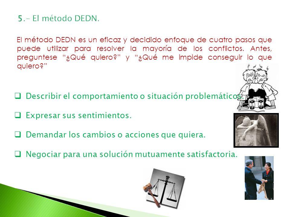 El método DEDN es un eficaz y decidido enfoque de cuatro pasos que puede utilizar para resolver la mayoría de los conflictos. Antes, preguntese ¿Qué q