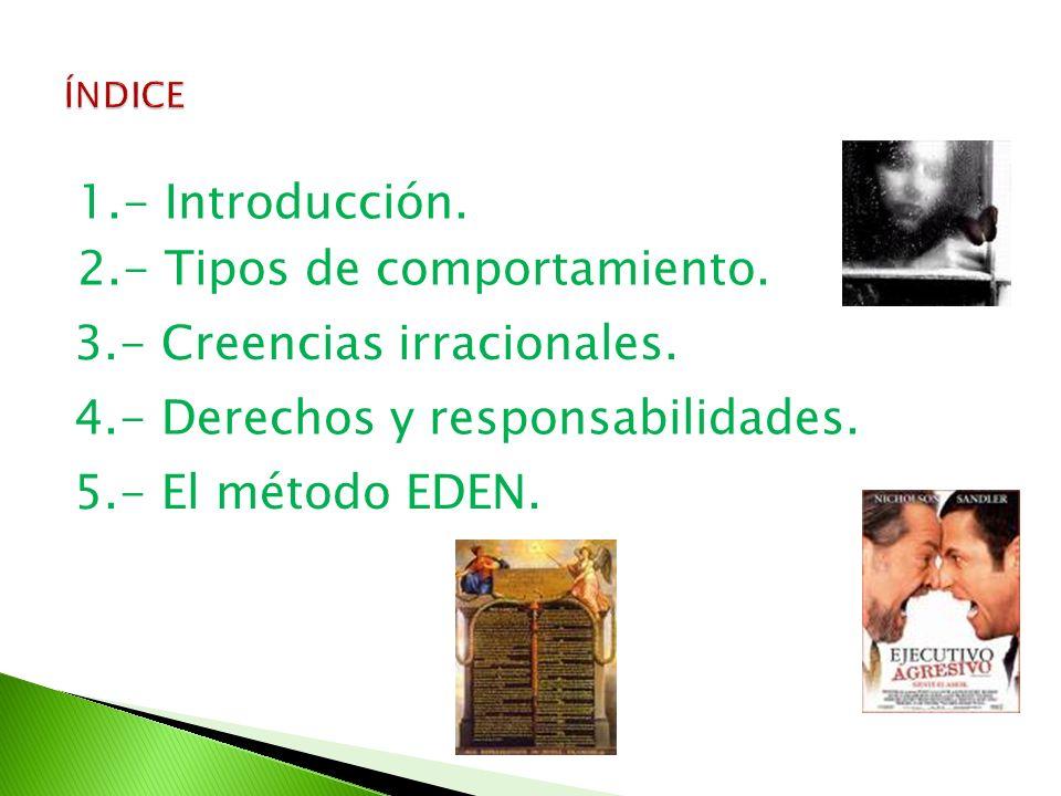 1.- Introducción. 2.- Tipos de comportamiento. 3.- Creencias irracionales. 4.- Derechos y responsabilidades. 5.- El método EDEN.