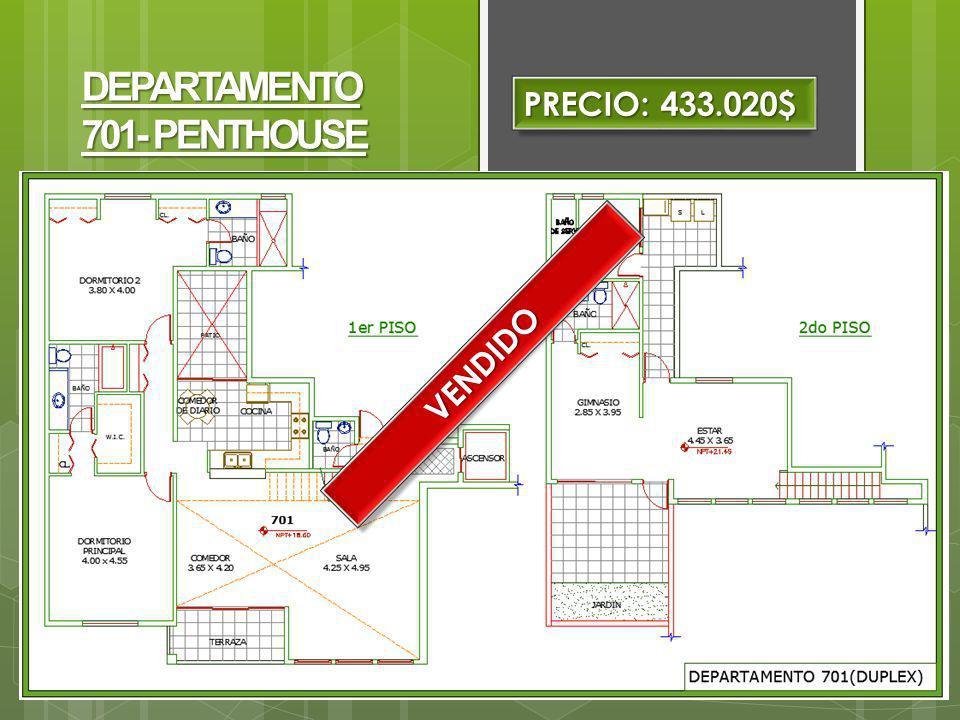 PRECIO: 433.020$ DEPARTAMENTO 701- PENTHOUSE VENDIDO
