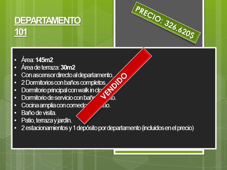 PRECIO: 326.620$ DEPARTAMENTO 101 VENDIDO