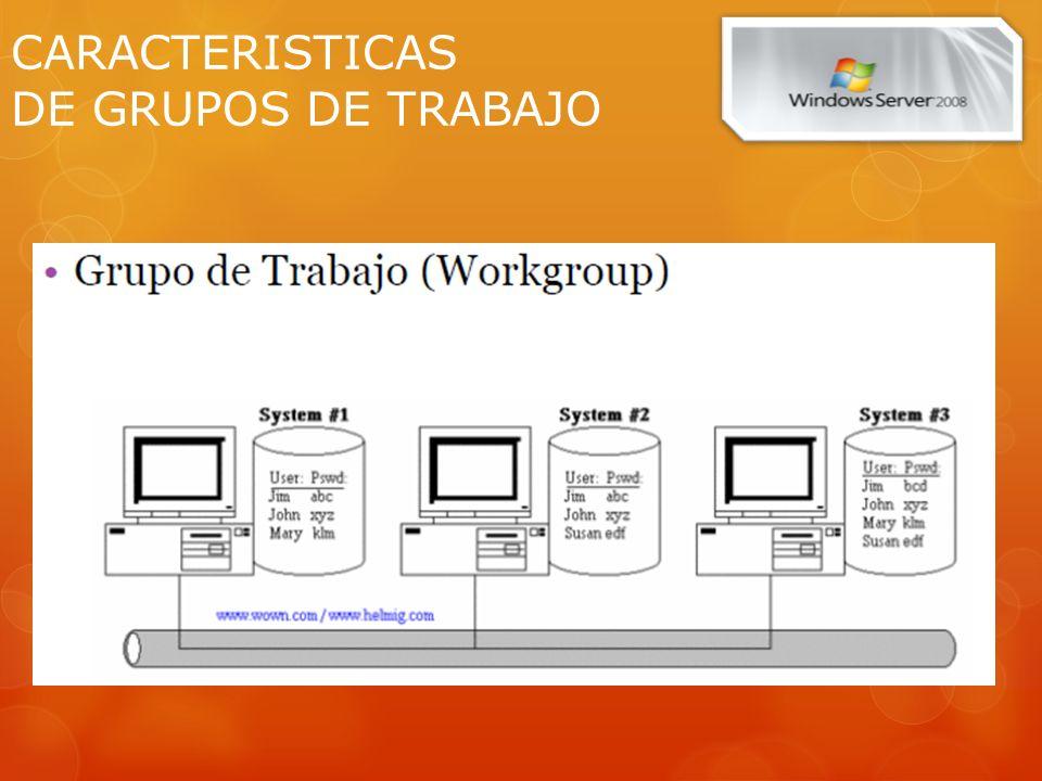 CARACTERISTICAS DE LOS DOMINIOS Provee una base de datos distribuida que almacena y administra información sobre recursos de la red y datos de aplicaciones.