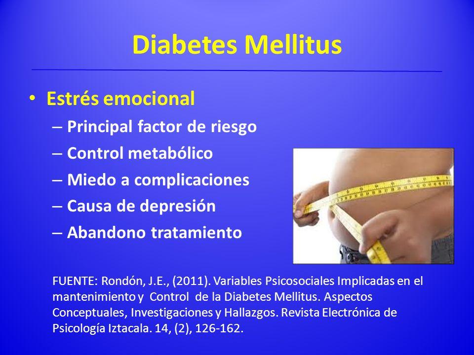 Diabetes Mellitus Estrés emocional – Principal factor de riesgo – Control metabólico – Miedo a complicaciones – Causa de depresión – Abandono tratamie