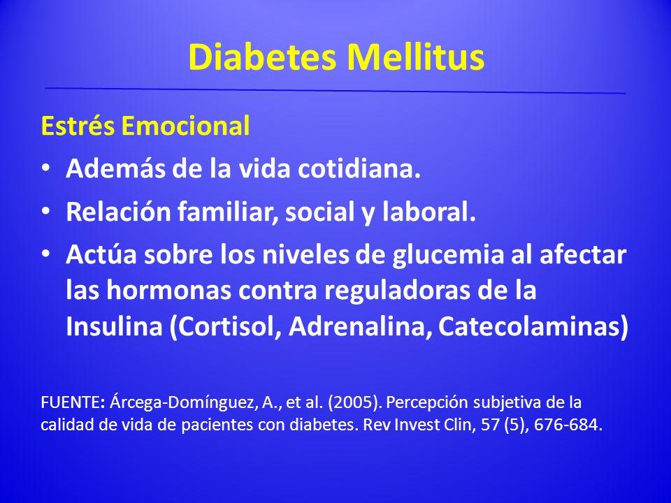Diabetes Mellitus Estrés Emocional Además de la vida cotidiana. Relación familiar, social y laboral. Actúa sobre los niveles de glucemia al afectar la