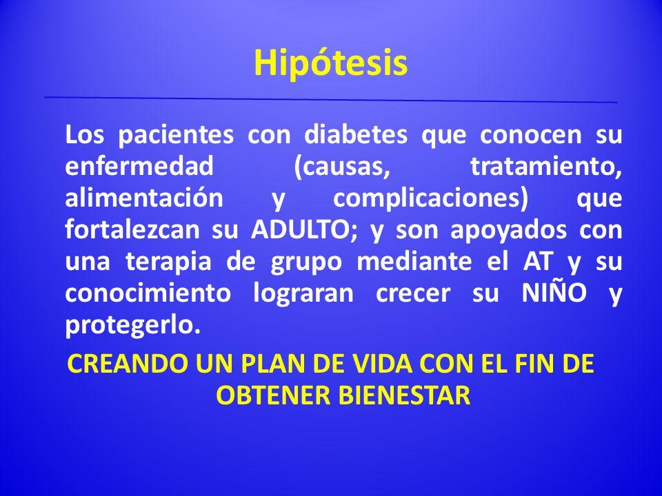 Hipótesis Los pacientes con diabetes que conocen su enfermedad (causas, tratamiento, alimentación y complicaciones) que fortalezcan su ADULTO; y son a