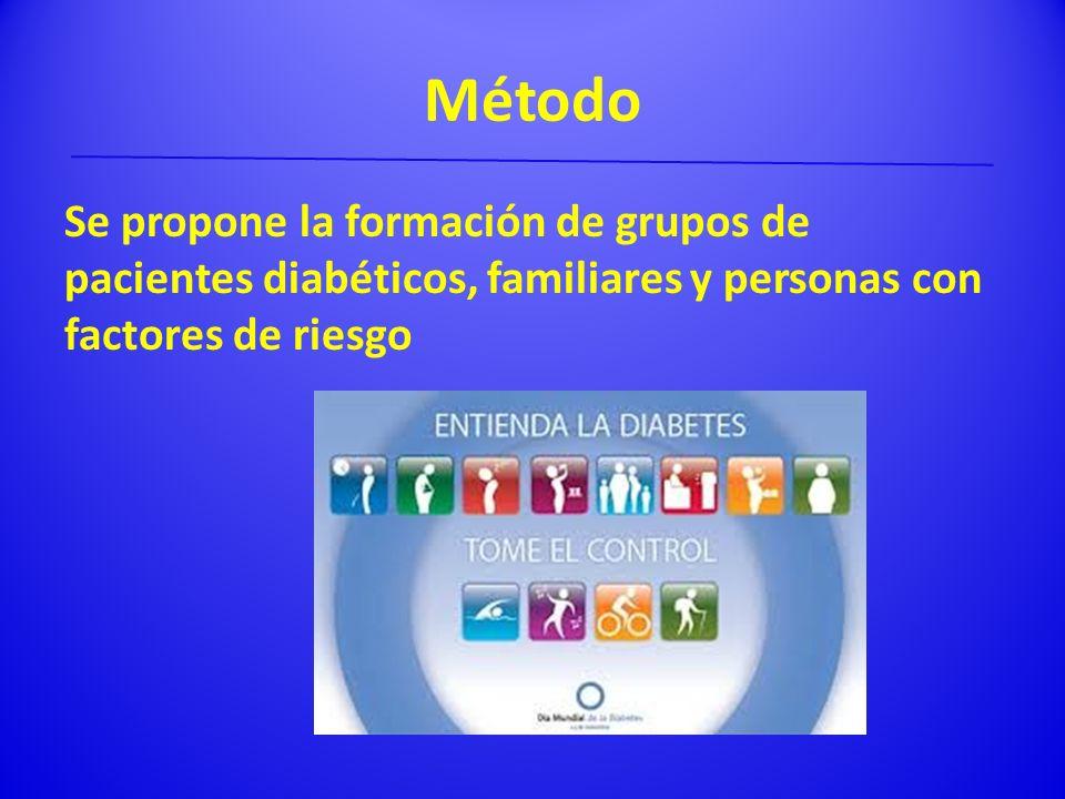 Método Se propone la formación de grupos de pacientes diabéticos, familiares y personas con factores de riesgo