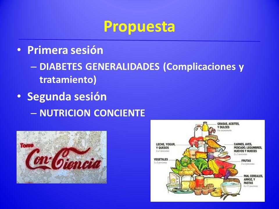 Propuesta Primera sesión – DIABETES GENERALIDADES (Complicaciones y tratamiento) Segunda sesión – NUTRICION CONCIENTE