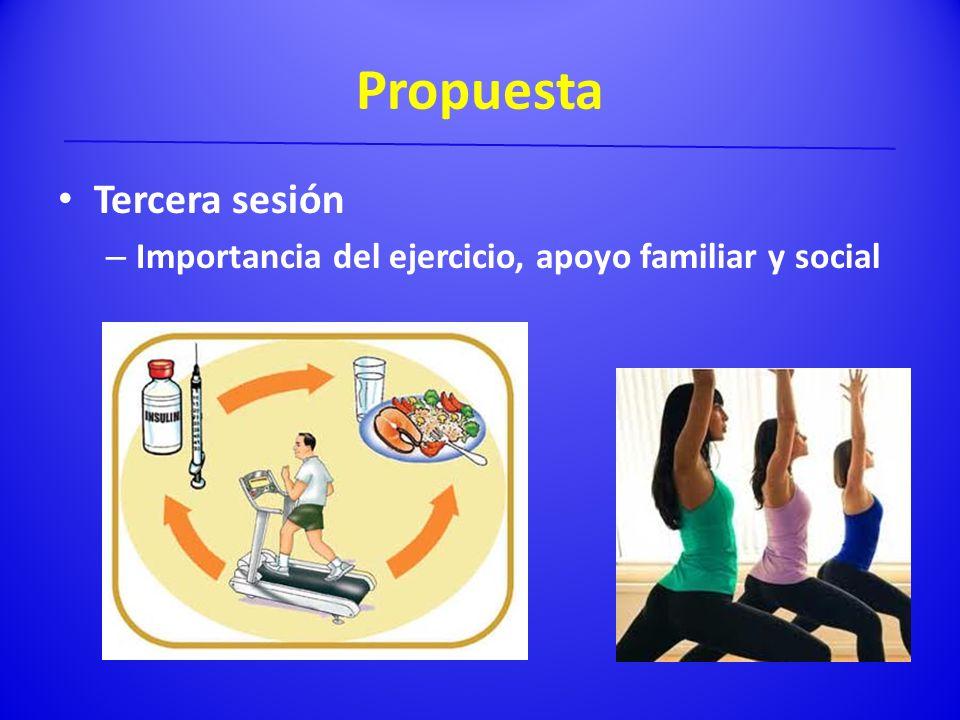 Propuesta Tercera sesión – Importancia del ejercicio, apoyo familiar y social
