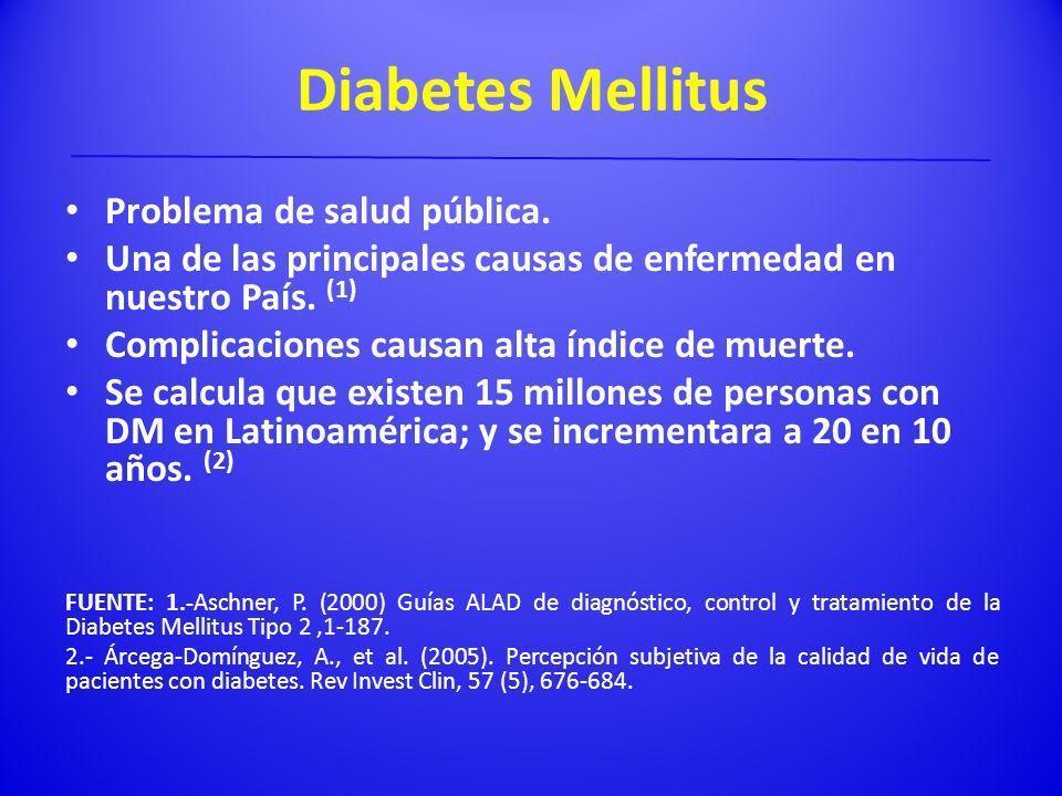 Diabetes Mellitus Problema de salud pública. Una de las principales causas de enfermedad en nuestro País. (1) Complicaciones causan alta índice de mue