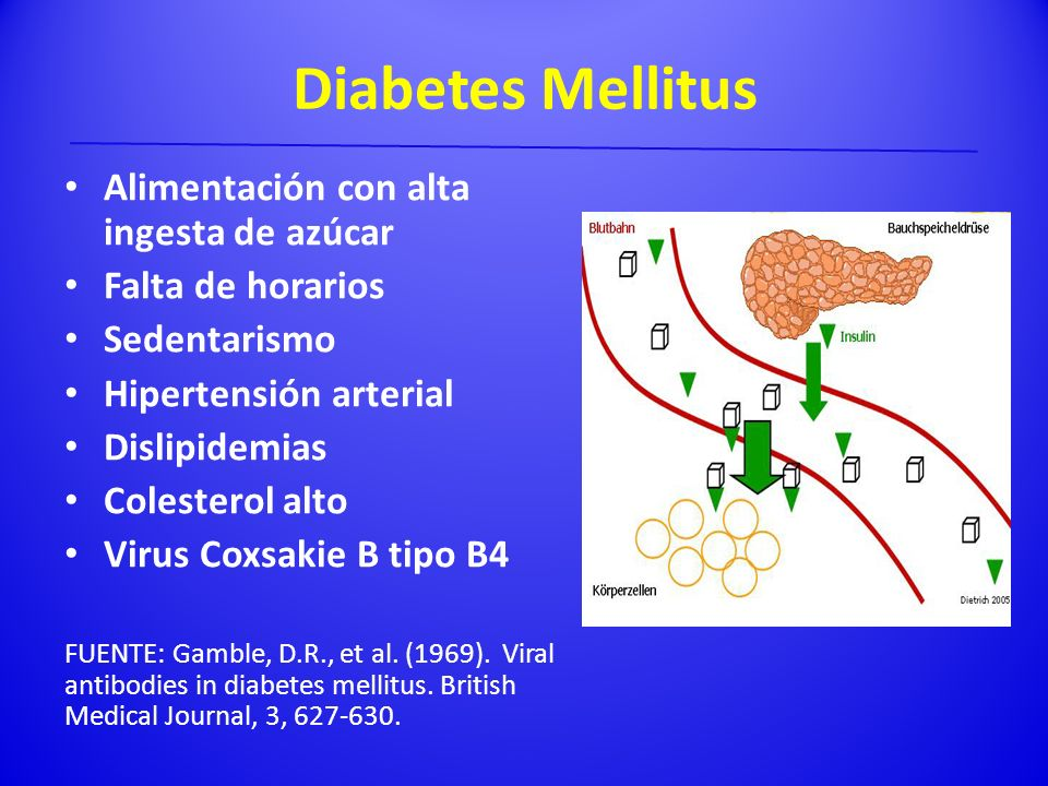 Diabetes Mellitus Alimentación con alta ingesta de azúcar Falta de horarios Sedentarismo Hipertensión arterial Dislipidemias Colesterol alto Virus Cox