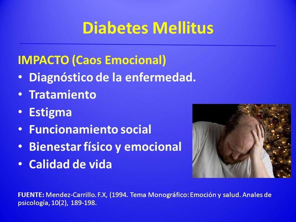 Diabetes Mellitus IMPACTO (Caos Emocional) Diagnóstico de la enfermedad. Tratamiento Estigma Funcionamiento social Bienestar físico y emocional Calida