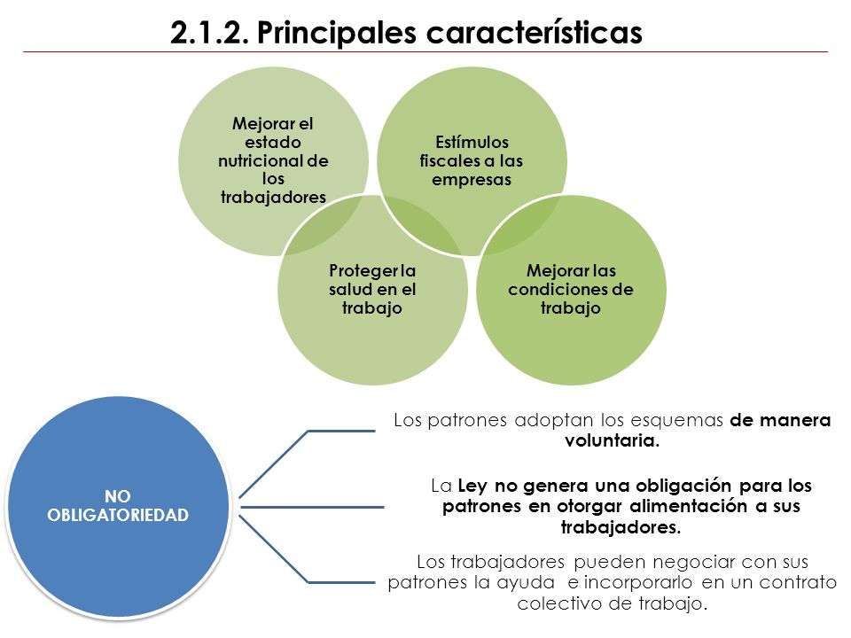 2.1.2. Principales características Mejorar el estado nutricional de los trabajadores Proteger la salud en el trabajo Estímulos fiscales a las empresas