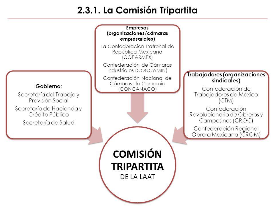 2.3.1. La Comisión Tripartita COMISIÓN TRIPARTITA DE LA LAAT Gobierno : Secretaría del Trabajo y Previsión Social Secretaría de Hacienda y Crédito Púb